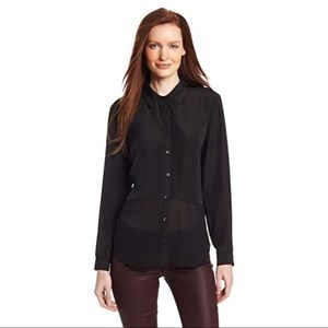 Olive & Oak Sheer Mixed Black Button Up Blouse